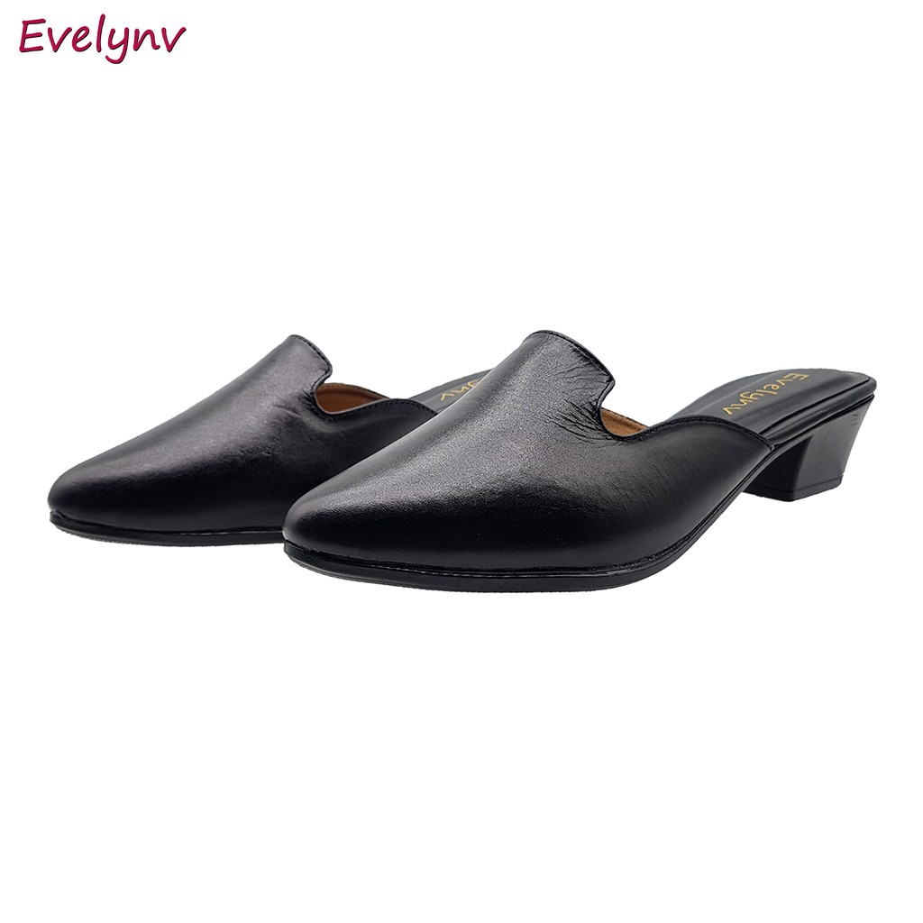 Giày Sục Nữ Giày Cao Gót 3Cm Da Bò Thật Siêu Mềm Cao Cấp Evelynv 3P2916 (Đen)