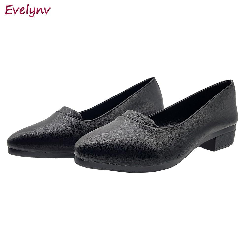 Giày Gót Vuông Giày Cao Gót 3Cm Dáng Xinh Duyên Dáng Mềm Mại Ôm Chân Evelynv 3P2616 (Đen)