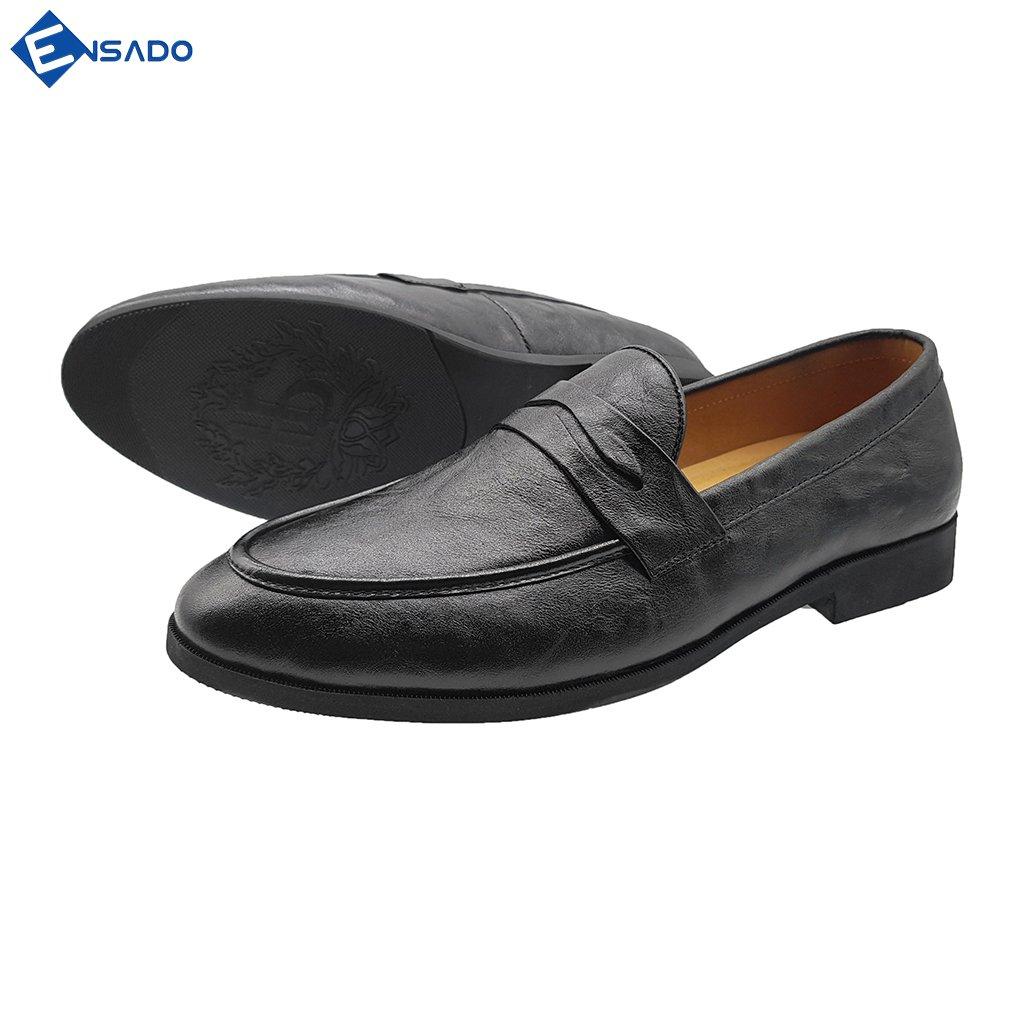 Giày Lười Nam Hàn Quốc Giày Nam Đẹp Da Bò Thật Sang Trọng Trẻ Trung Ensado HQ7016 (Đen)