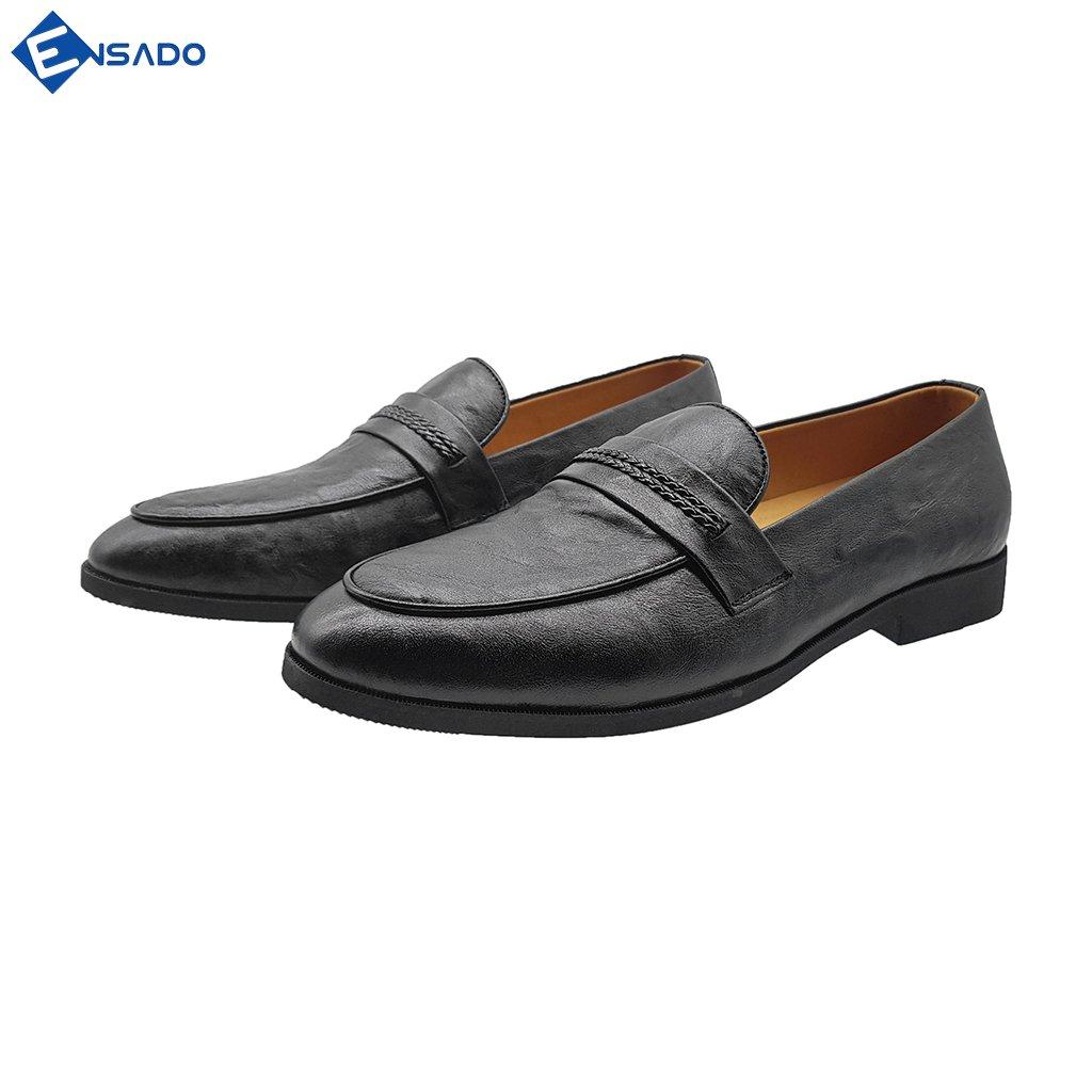 Giày Lười Nam Hàn Quốc Giày Nam Đẹp Da Bò Thật Sang Trọng Trẻ Trung Ensado HQ7116 (Đen)