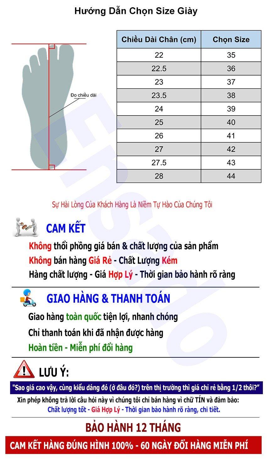 Hướng dẫn chọn size Giày Mùa Hè Nam GM4816