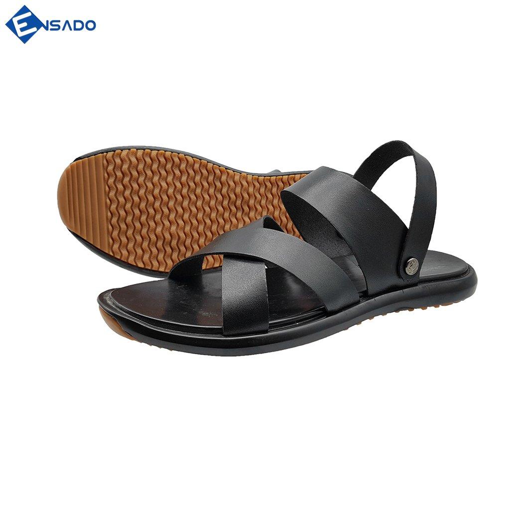 Giày Sandal Nam Dép Quai Hậu Nam Da Bò Thật Cao Cấp Tối Giản Sang Trọng Ensado DE5216 (Đen)
