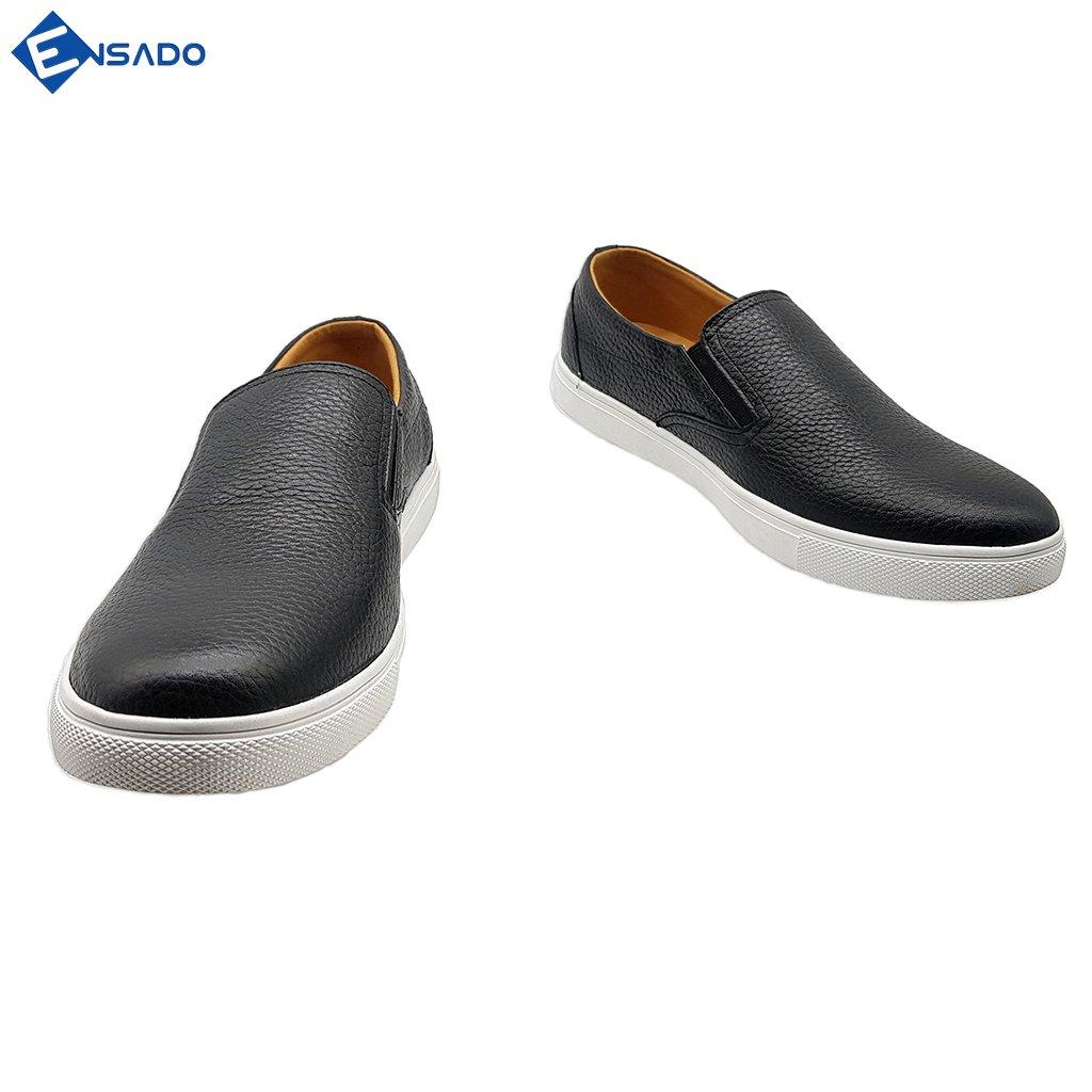 Giày Sneaker Nam Slip On Nam Da Bò Nguyên Tấm Ensado SL1316 (Đen - Nâu)