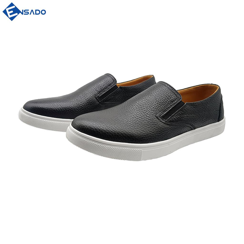Giày Slip On Nam Giày Sneaker Nam Da Bò Nguyên Tấm Năng Động Trẻ Trung Ensado SL1316 (Đen)