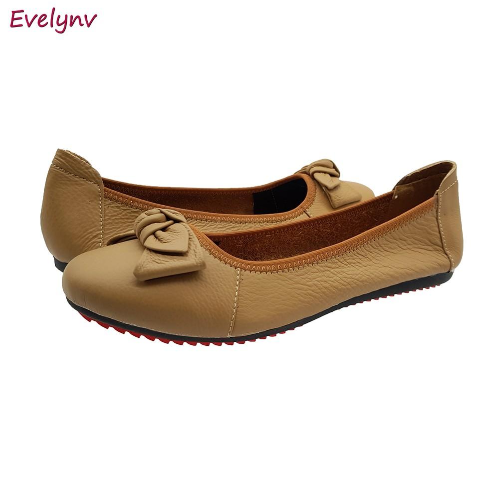 Giày Búp Bê Giày Lười Nữ Da Bò Thật Cực Mềm Tối Giản Sang Trọng Evelynv GB0516 (Kem)