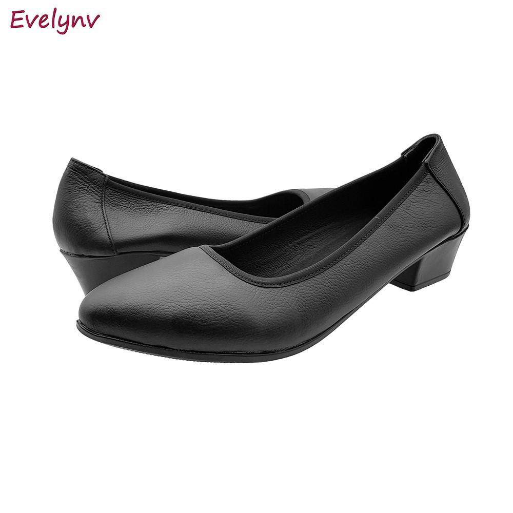 Giày Cao Gót Đế Vuông Giày Cao Gót 3cm Evelynv 3P0216 (Đen - Kem) 3