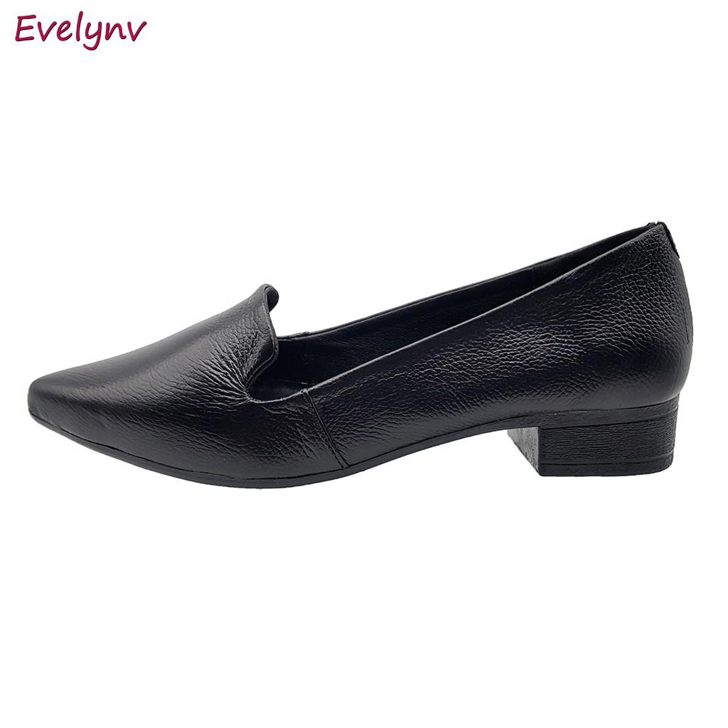 Giày Cao Gót 3Cm Giày Gót Vuông Da Bò Thật Cao Cấp Gót Cao 3cm Evelynv 3P5016 (Đen)
