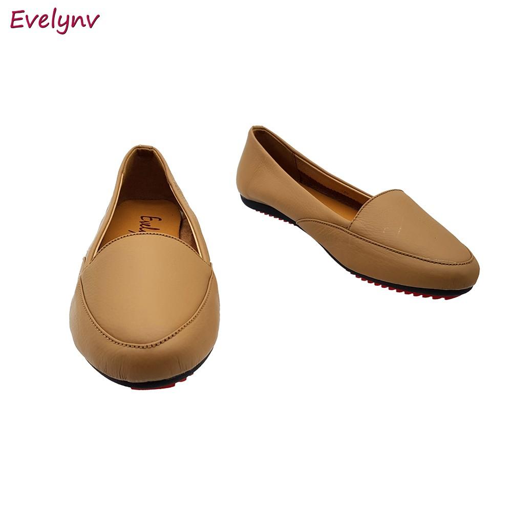 Giày Lười Nữ Giày Bệt Da Bò Thật Siêu Mềm Tối Giản Sang Trọng Evelynv GB0616 (Kem)