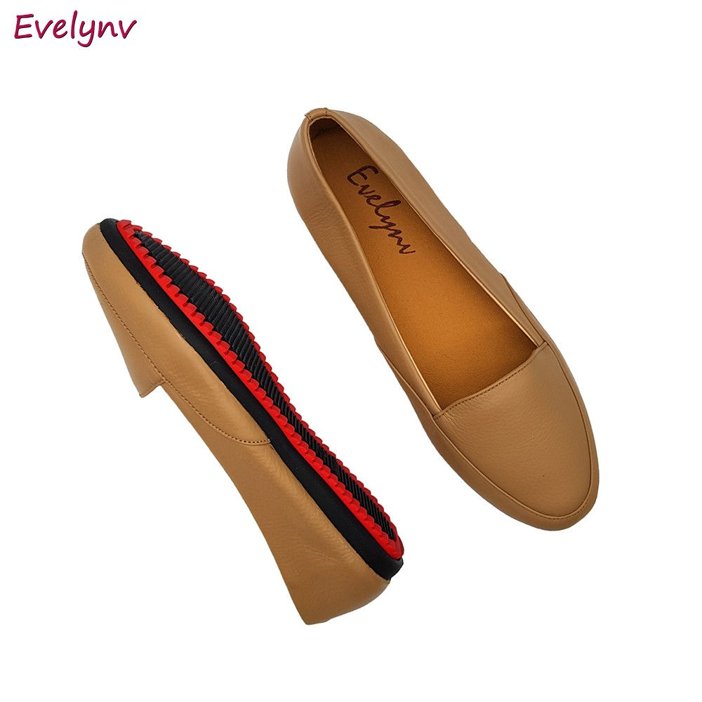 Giày Đế Bằng Giày Lười Nữ Evelynv GB0616 (Đen - Kem) 5