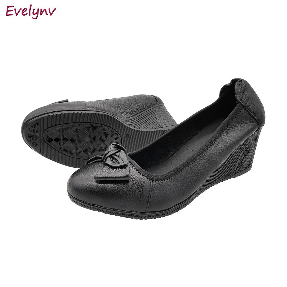 Giày Đế Xuồng Giày Cao Gót 5Cm Da Bò Thật Siêu Mềm Sang Trọng Evelynv 5P0116 (Đen)