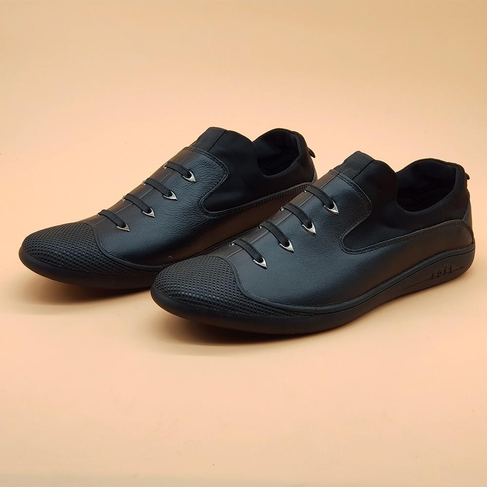 Giày Sneaker Nam Da Bò Tấm Ensado 164016 (Đen) 2
