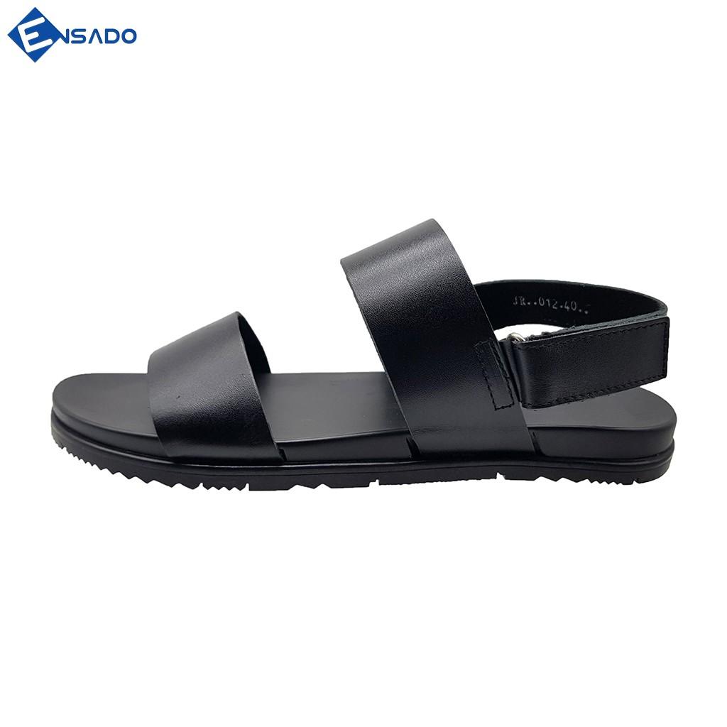 Dép Quai Hậu Giày Sandal Nam Da Bò Nguyên Tấm Cao Cấp Ensado DE2816 (Đen)