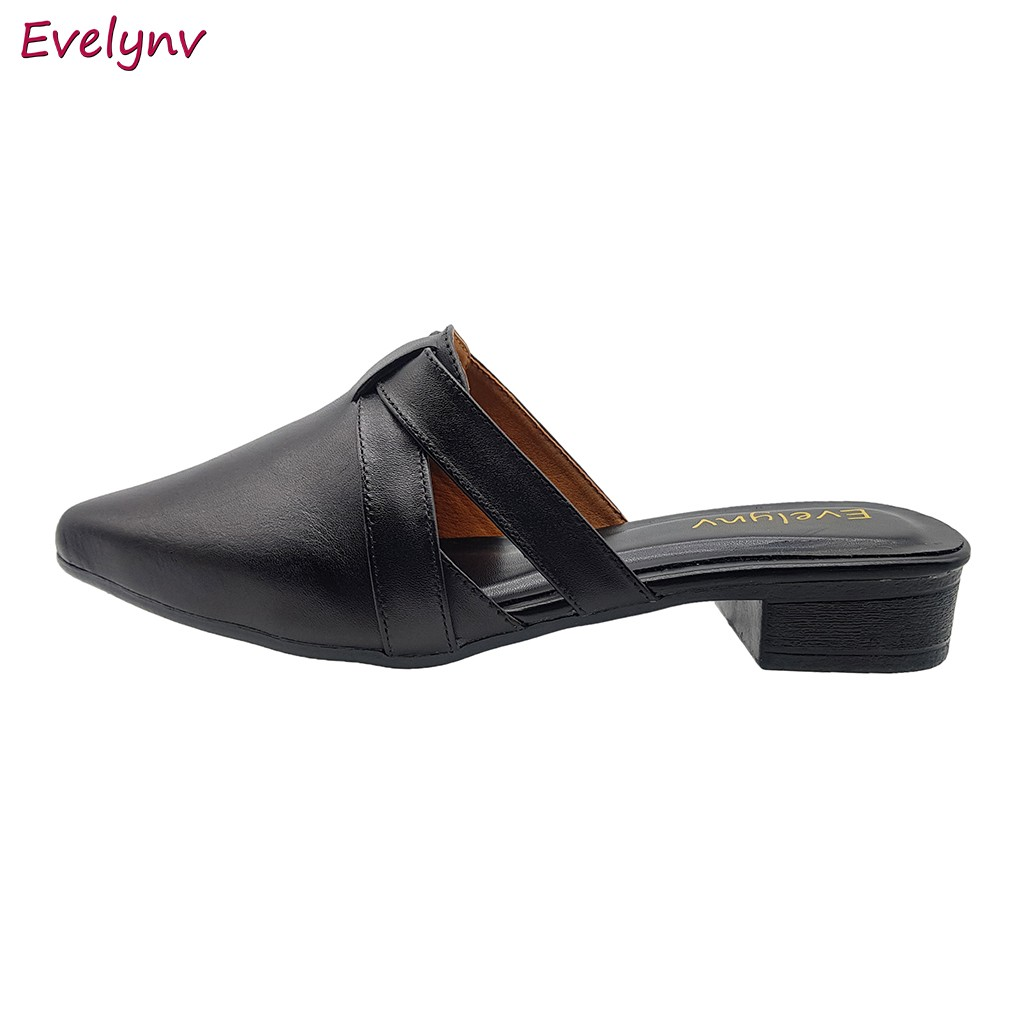 Giày Sabo Nữ Giày Cao Gót Đế Vuông Da Bò Thật Cực Mềm Gót Cao 3cm Evelynv 3P4916 (Đen)