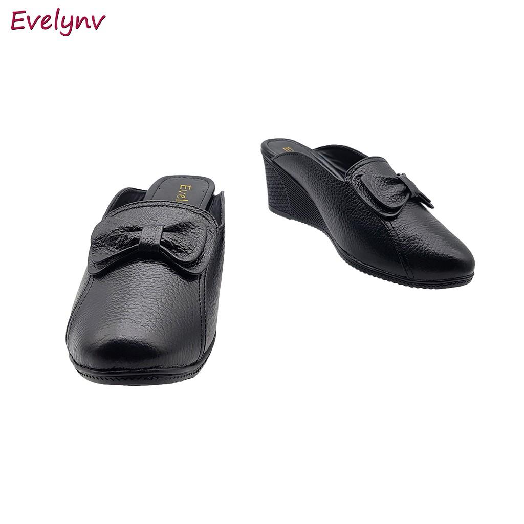 Giày Sục Nữ Giày Đế Xuồng Da Bò Thật Cực Mềm Gót Cao 5cm Evelynv 5P1816 (Đen)