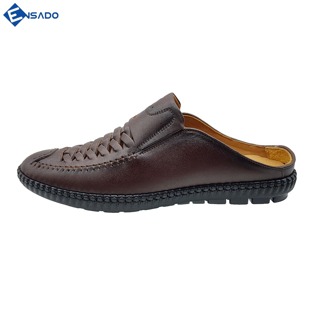 Giày Sabo Nam Giày Sục Nam Da Bò Nguyên Tấm Khắc Laser Tinh Xảo Ensado SU1216 (Nâu)