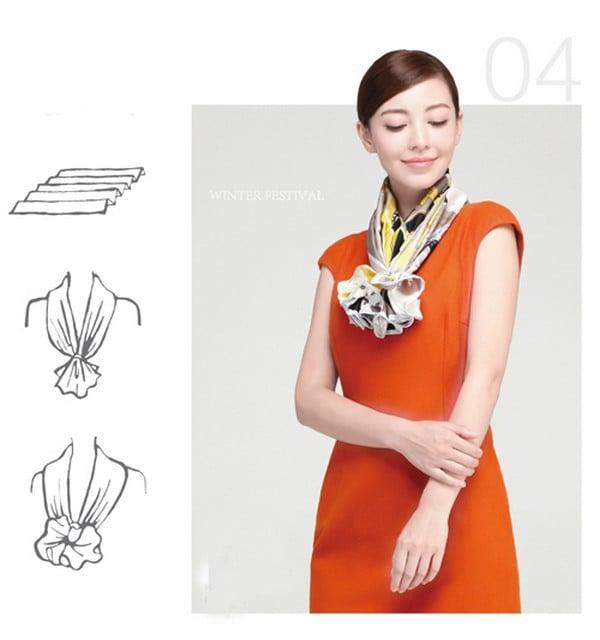Hướng dẫn 10 kiểu thắt khăn đẹp sang chảnh cho nữ công sở