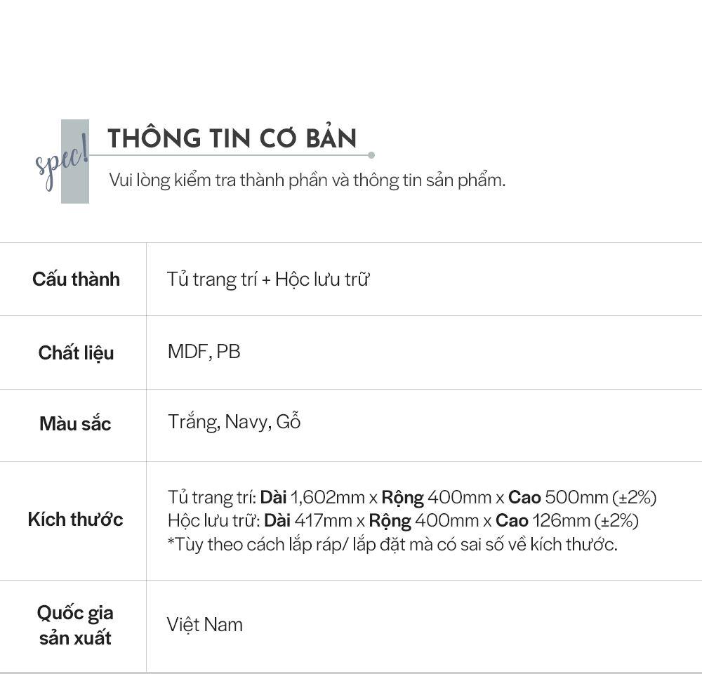 LS017 - TỦ TRANG TRÍ MDF ĐA NĂNG 1600B - THÔNG TIN SP