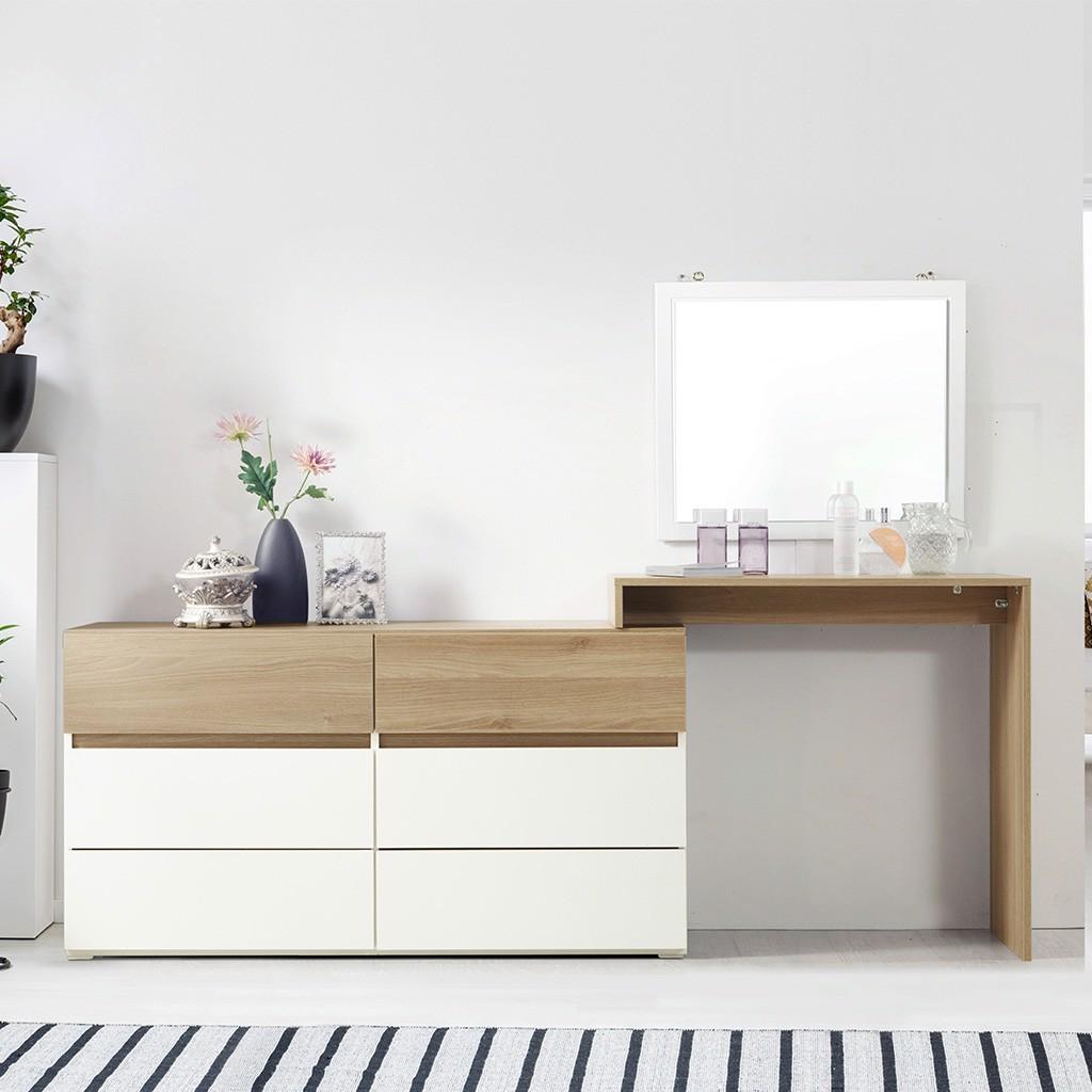 bàn trang điểm gỗ sồi kèm gương