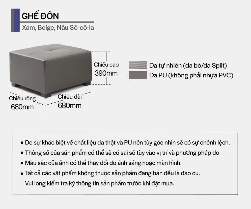 SF300 - GHẾ SOFA DA THẬT 4 CHỖ NGỒI KÈM ĐÔN - THÔNG TIN 02
