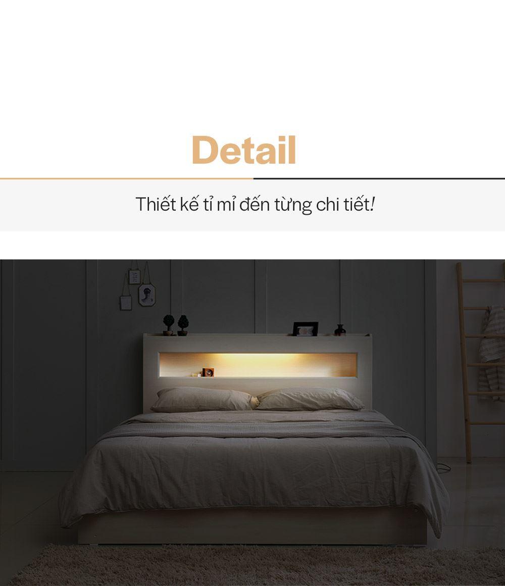 DB012A - GIƯỜNG LED CÓ NGĂN KÉO SIZE QUEEN - CHI TIẾT 01