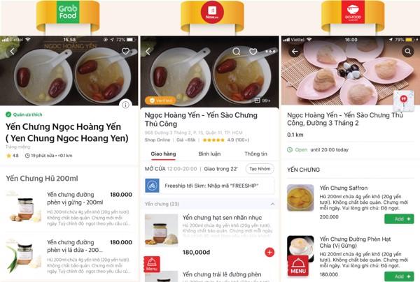 Gian hàng của Ngọc Hoàng Yến luôn đứng TOP với lượng rating cao trên các ứng dụng đặt hàng Grab Food và Now Delivery