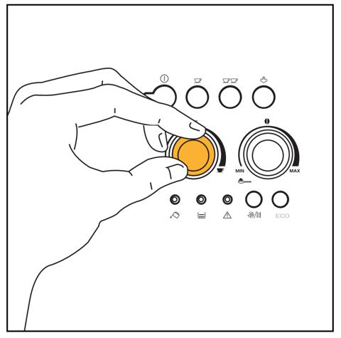Xoay núm điều chỉnh lượng nước máy pha cà phê tự động Delonghi Esam 4000 B