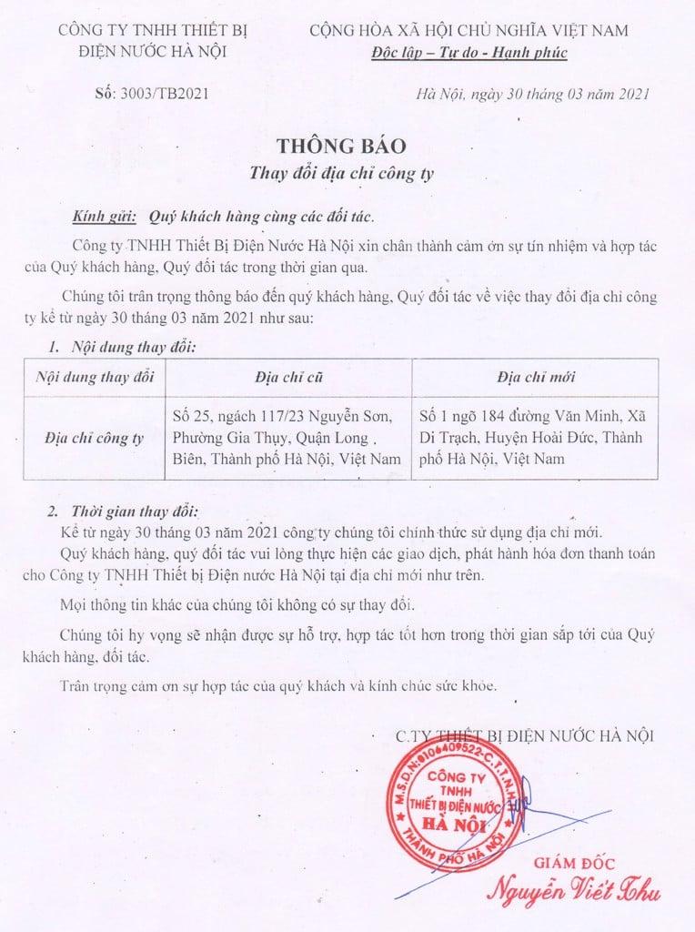 Công ty TNHH Thiết bị Điện nước Hà Nội thay đổi địa chỉ