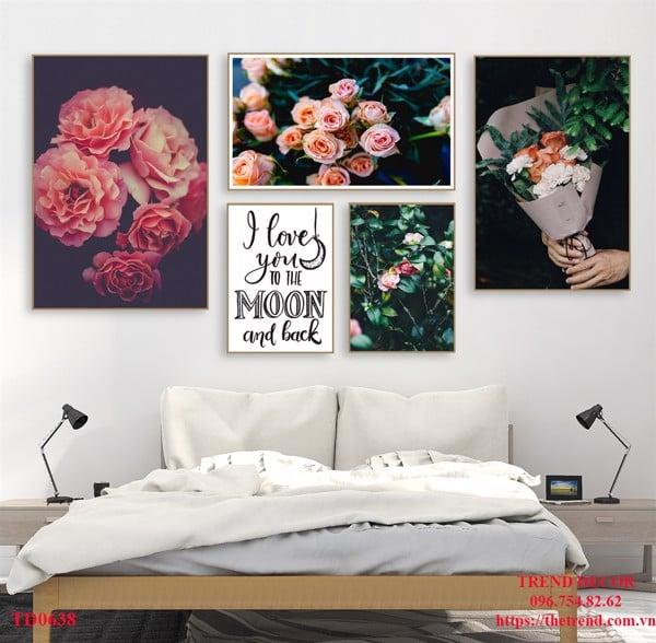 bộ tranh hiện đại hoa hồng treo phòng ngủ
