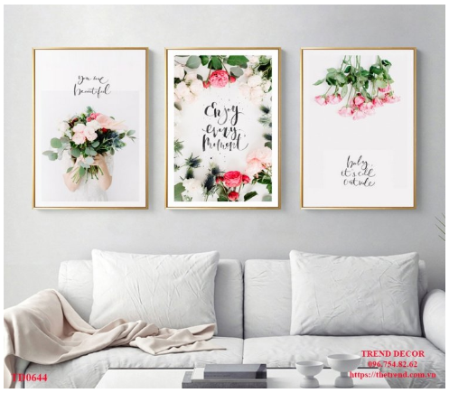 tranh bộ treo tường hoa hồng phấn