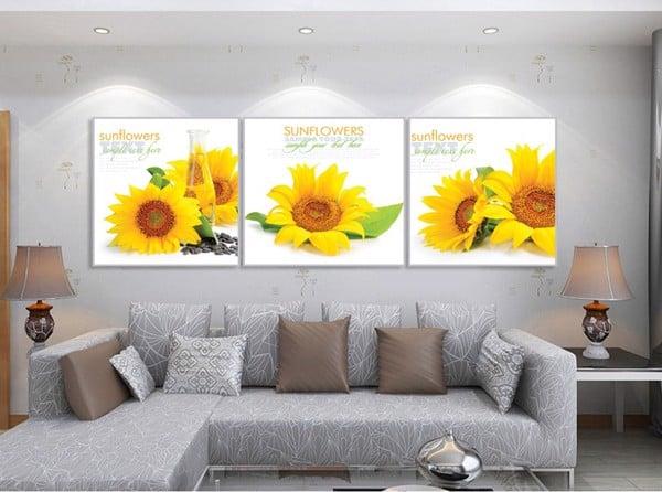 tranh bộ treo tường hoa hướng dương phòng ngủ