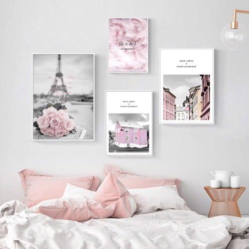 phòng ngủ đẹp, nhẹ nhàng với tranh treo tường