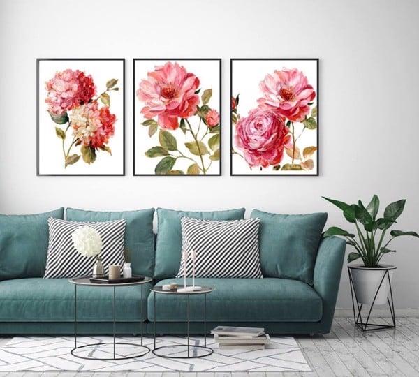 bộ tranh hoa mẫu đơn treo tường