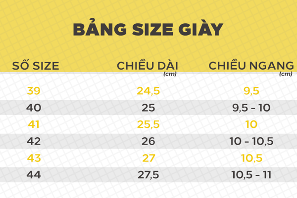 Bảng size giày adidas Prophere