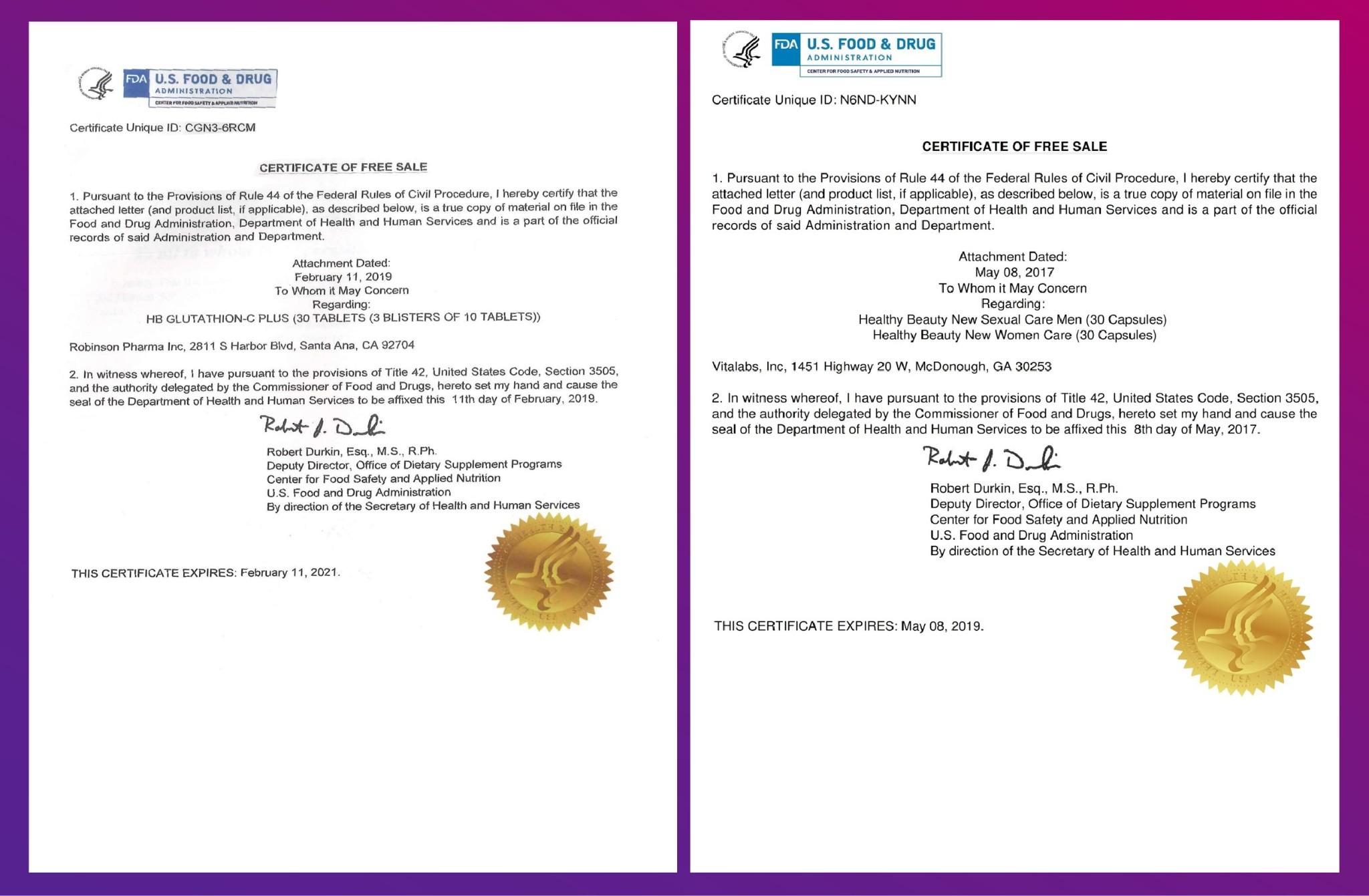 Chứng nhận bán tự do tại nước mỹ của HB Glutathion C-Plus