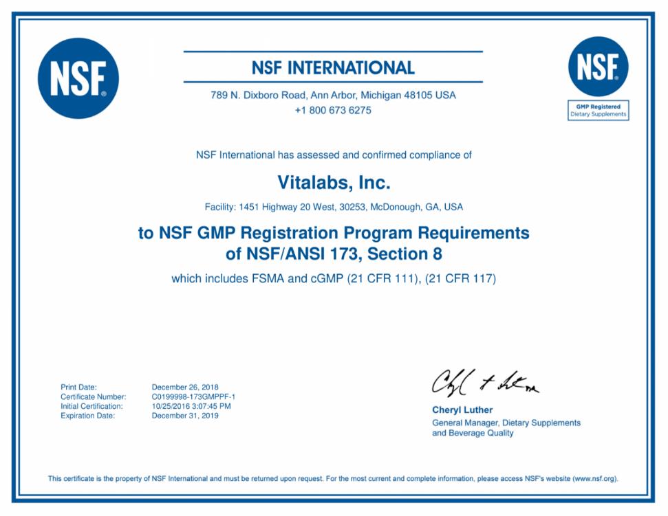 Chứng Nhận NSF Nhà Máy Vitalabs