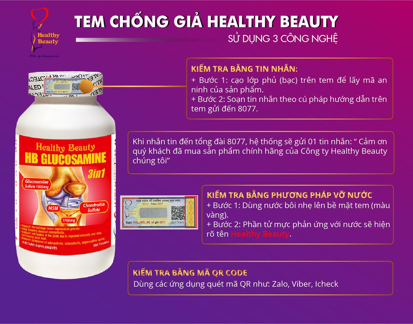 Hướng dẫn sử dụng tem chống giả Healthy Beauty HB Glucosamine 3 in 1
