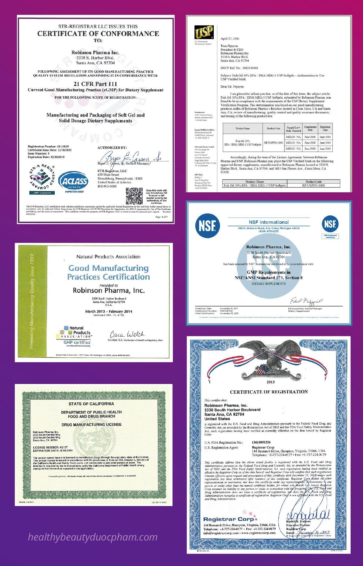 Chứng nhận cGMP của Robinson Pharmama