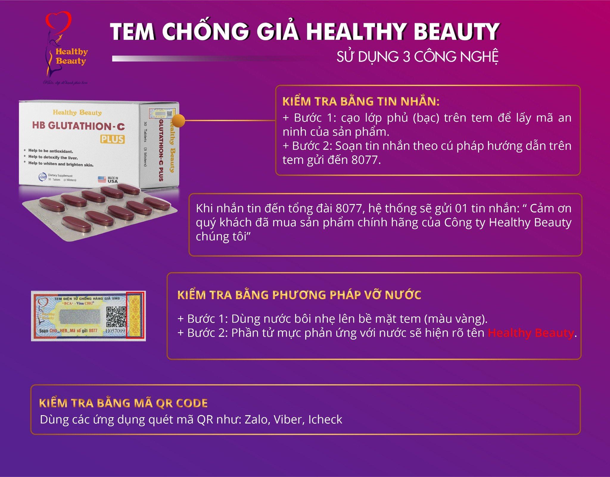Tem chống giả 3 công nghệ HB Glutathion CPlus