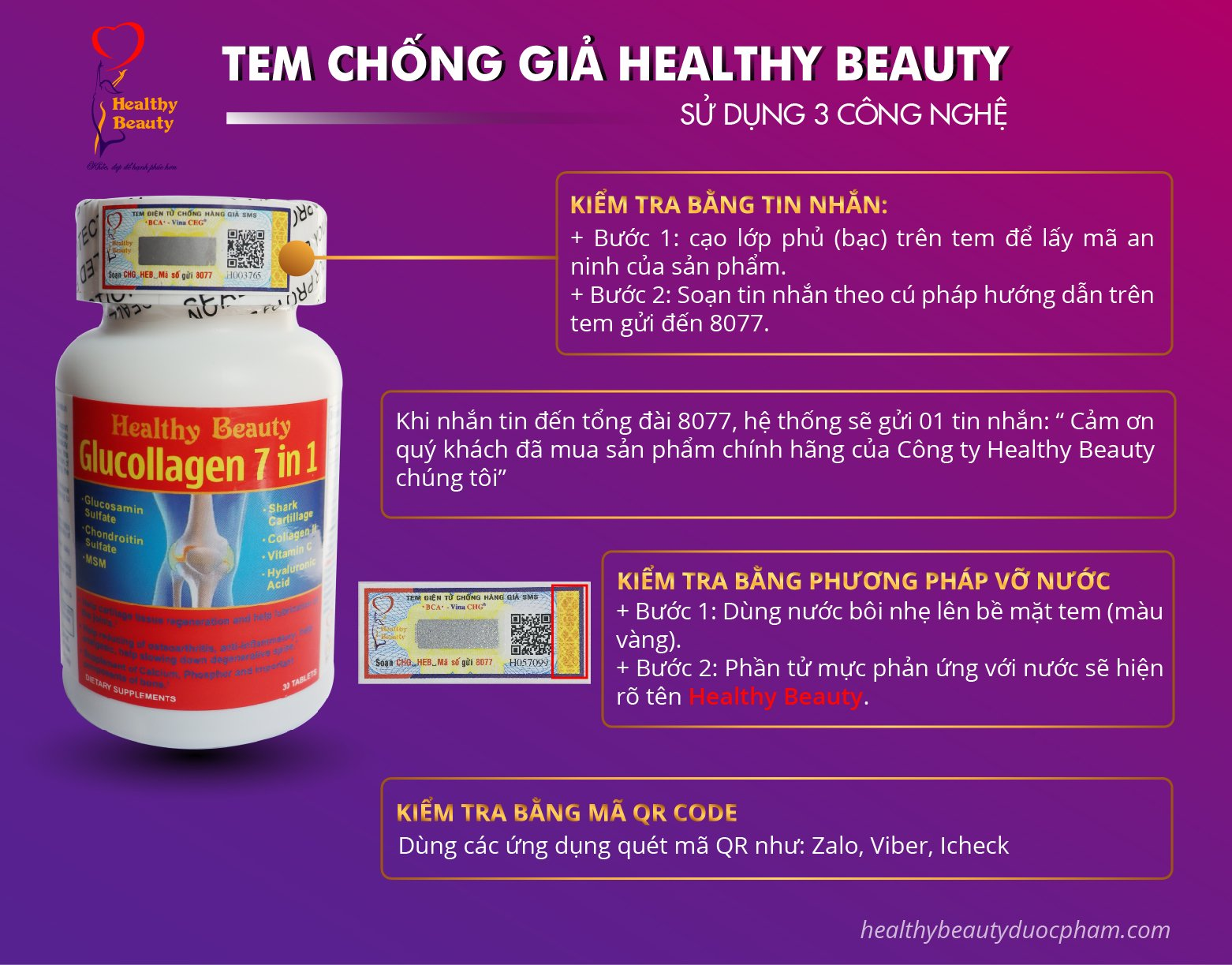 Tem chống giả Healthy Beauty Glucollagen 7 in 1
