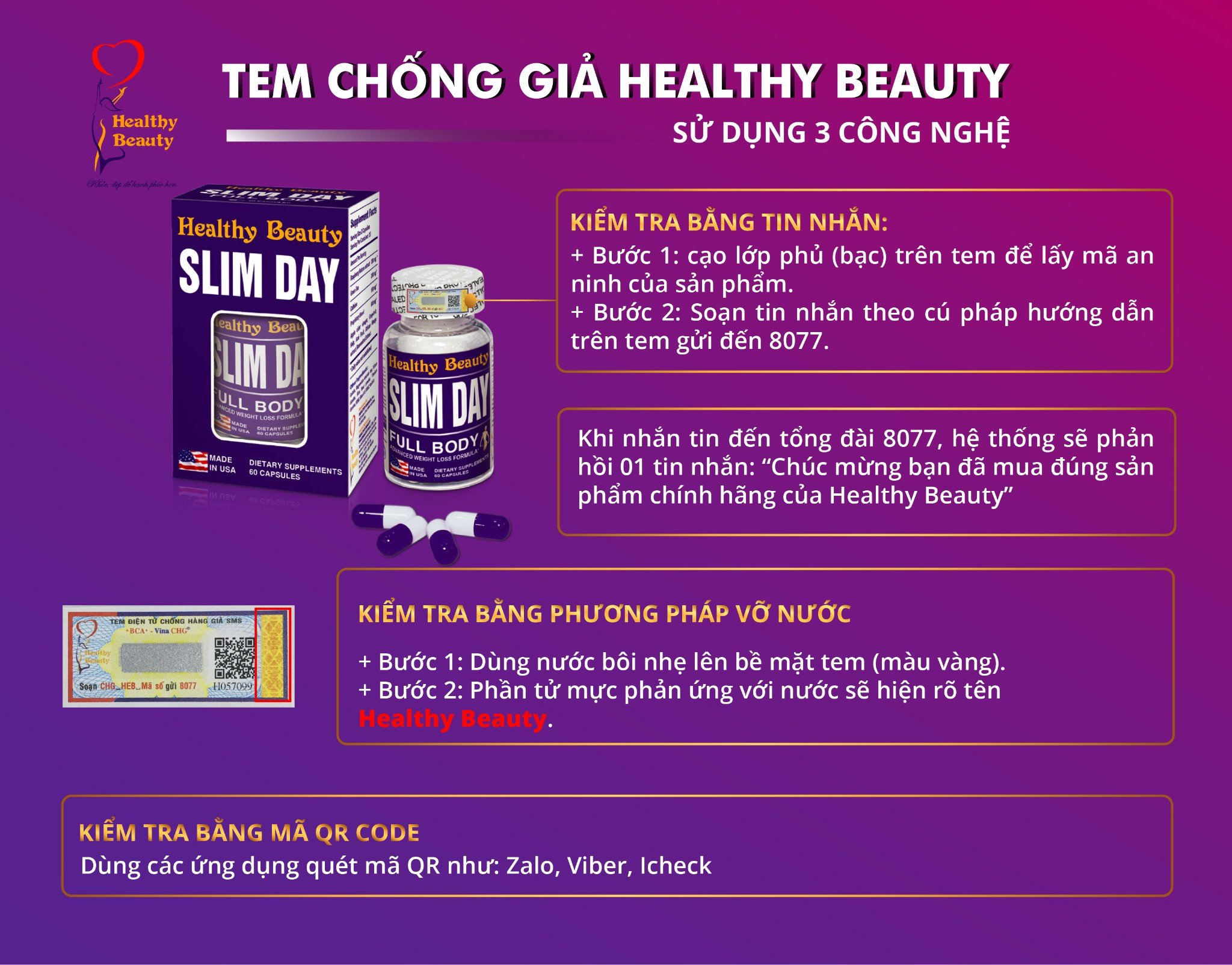Tem chống giả Healthy Beauty Slim Day