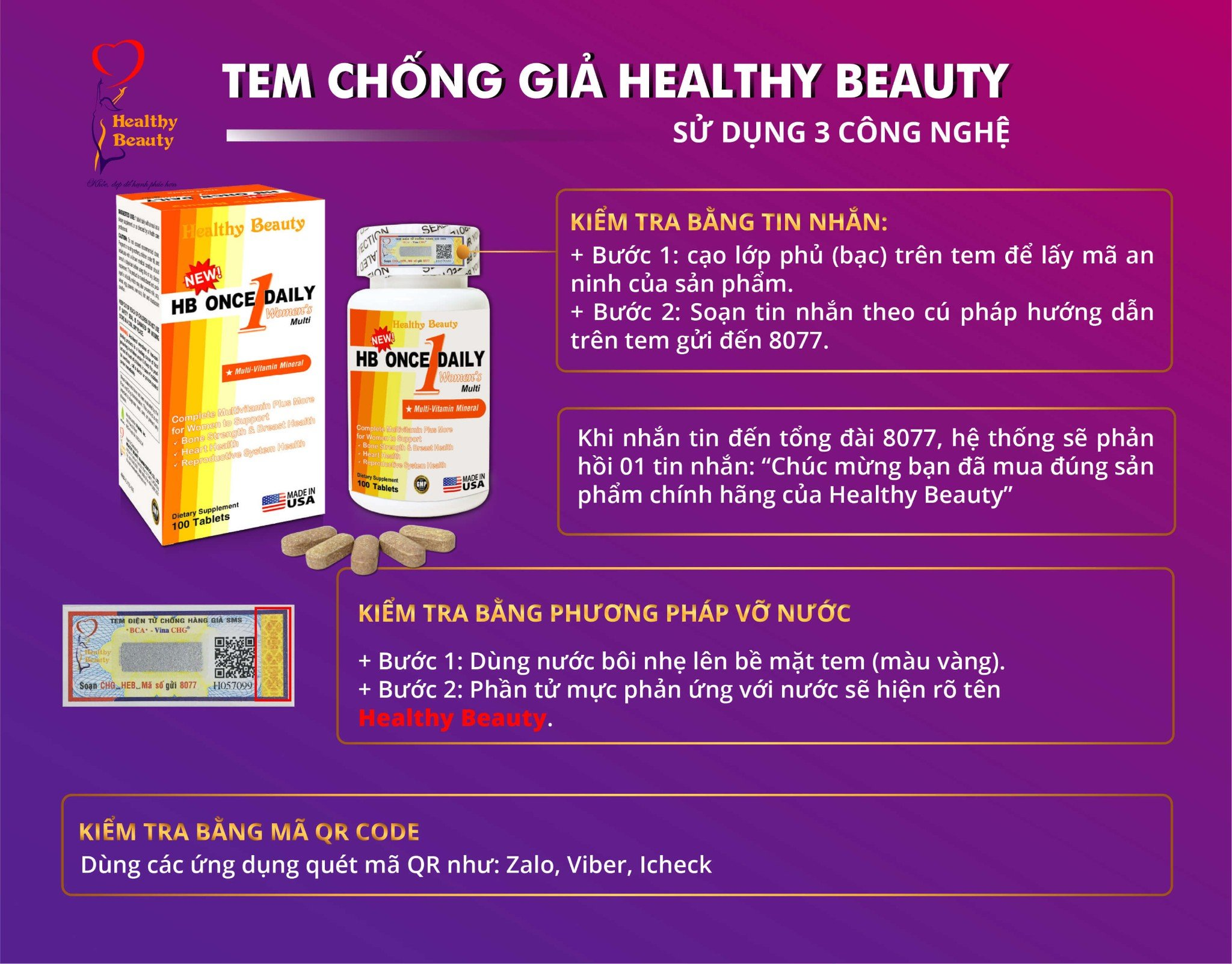 Tem chống giả HB Once Daily Women