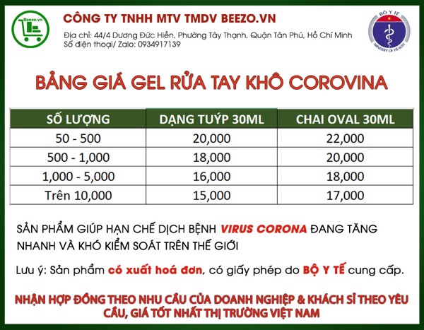 bảng giá sỉ của gel rửa tay corovina