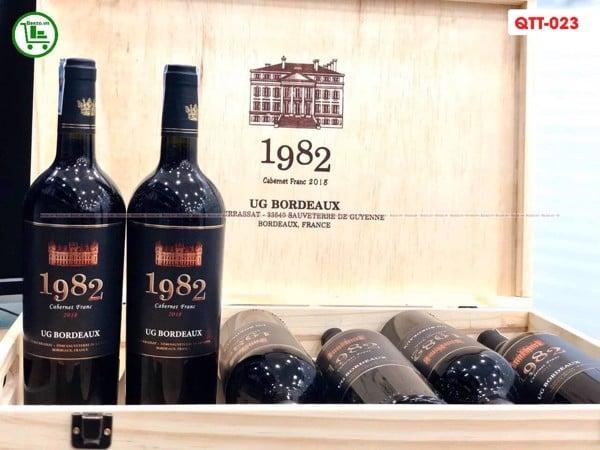 Rượu Vang Pháp UG Bordeaux 1982 Cabernet Franc set 6 chai tặng hộp gỗ