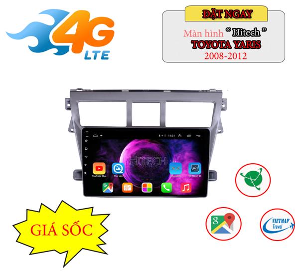 Màn hình Android Toyota Vios 2008-2012 Hitech H500 Cắm Sim 4G