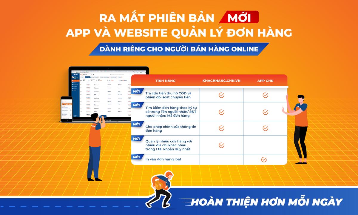 GHN chính thức ra mắt phiên bản mới của app và website quản lý đơn hàng.