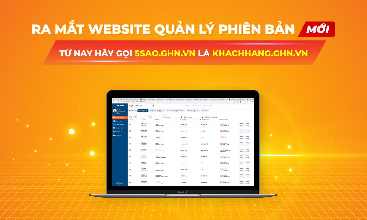 Hướng dẫn trải nghiệm phiên bản mới web khachhang.ghn.vn