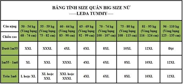 bảng tính size quần nữ - LEDA TUMMY