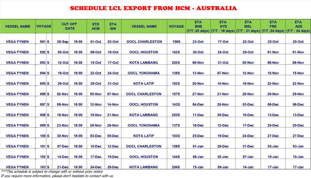BNQ GLOBAL LCL EXPORT SCHEDULE HCM - AUSTRALIA