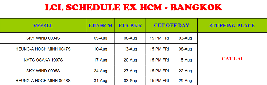 BNQ GLOBAL LCL EXPORT SCHEDULE HCM - BANGKOK AUGUST 2019