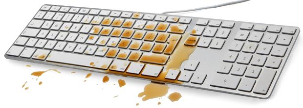 Bàn phím Macbook dính nước, cà phê